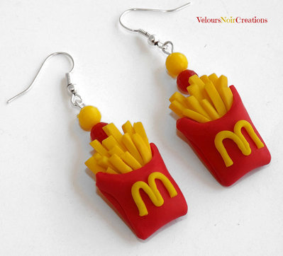 Orecchini patatine McDonald's in fimo