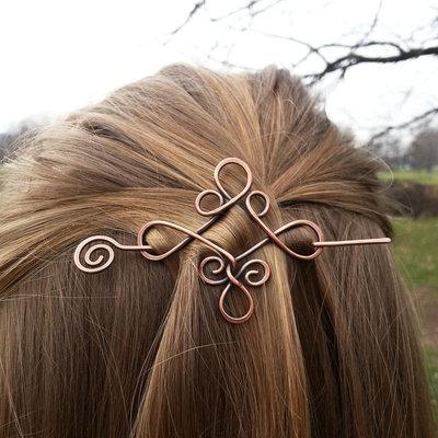 Spilla fermaglio per capelli stile celtico Fermacapelli in rame Fermaglio per capelli Spilla in metallo Accessori donna Accessori per capelli lunghi