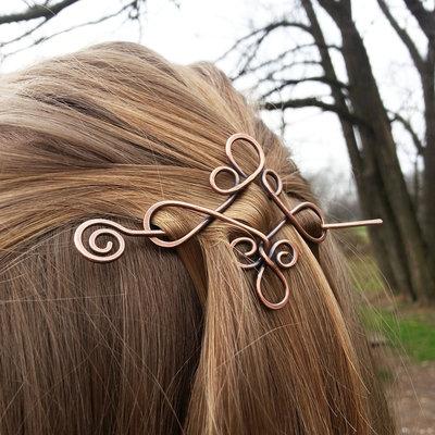 miglior servizio f1ae1 5256c Spilla fermaglio per capelli stile celtico Fermacapelli in rame Fermaglio  per capelli Spilla in metallo Accessori donna Accessori per capelli lunghi