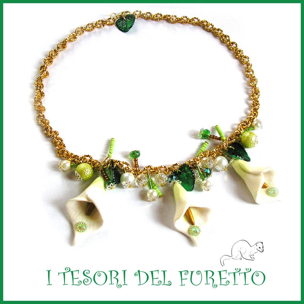 """Collana Primavera """"Calle biache Oro """" fimo cernit elegante girocollo charm perle idea regalo Natale"""