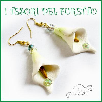 """Orecchini Primavera """"Calle biache Oro """" fimo cernit elegante girocollo charm perle idea regalo Natale"""