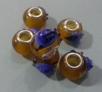 50% DI SCONTO - 6 Perline Vetro Foro Largo Coccinella