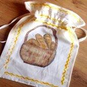 Sacchetto per il pane cucito e dipinto a mano.  Idee regalo