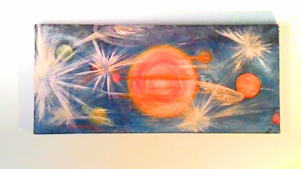 Sistema solare dipinto su tela 40x90cm