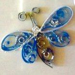 Magneti bomboniere per frigo ,farfalla azzurra handmade