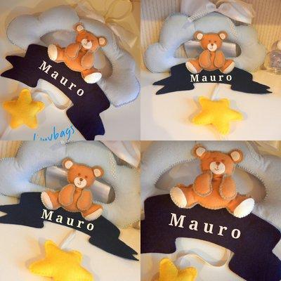 Fiocco nascita azzurro nuvoletta con orsetto e stellina♥