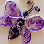 Magnete frigo, farfalla viola handmade