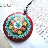 Collana Con Ciondolo in Legno Dipinto a Mano Raja