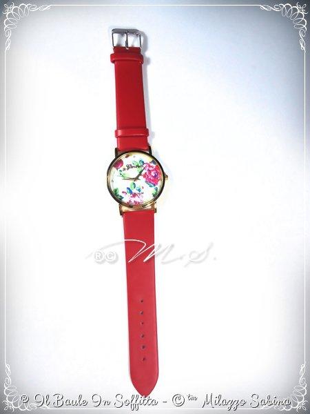 Orologio cinturino in ecopelle rosso e quadrante tondo con motivi floreali