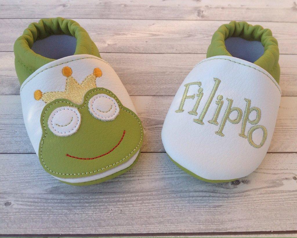 Scarpine babbucce ecopelle Principe Ranocchio personalizzate con nome - Bimbi 3-6 mesi