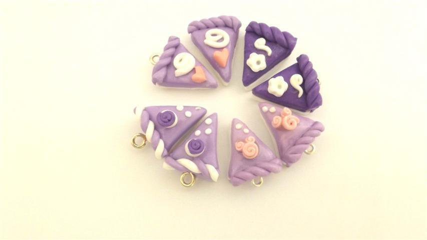 OTTO  CIONDOLI  - fetta di torta LILLA  - fimo  per orecchini - braccialetti - collane - charms
