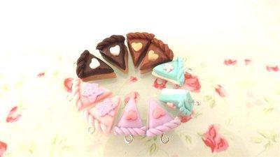DUE   CIONDOLI  - fetta di torta doppio strato - fimo  per orecchini - braccialetti - collane - charms