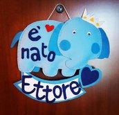 FIOCCO NASCITA ELEFANTINO azzurro personalizzabile BabyCake