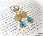 Orecchini pendenti con filigrana e perla azzurra - Blue Goccia