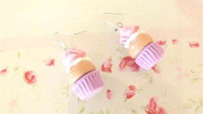 FIMO - PAIO DI ORECCHINI con CUP CAKES con ROSA colore LILLA idea regalo