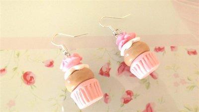 FIMO - PAIO DI ORECCHINI con CUP CAKES con ROSA coloreROSA idea regalo
