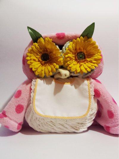 Gufo gufetto torta di pannolini - Regalo per neonati e baby shower