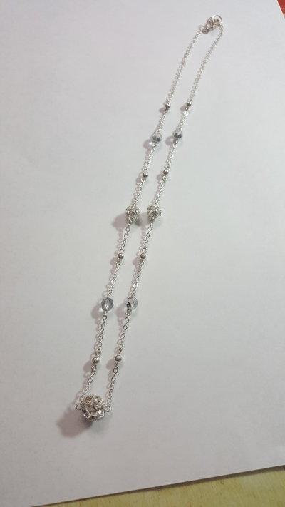 bene fuori x San Francisco nuova alta qualità collana con sfere strass swarovski, mezzi cristalli e spere metalliche