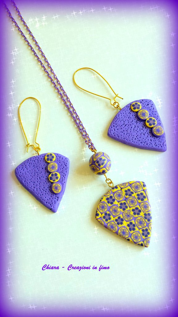 Parure con ciondolo e orecchini coordinati in fimo elegante handmade viola giallo idee regalo idea regalo Festa della mamma