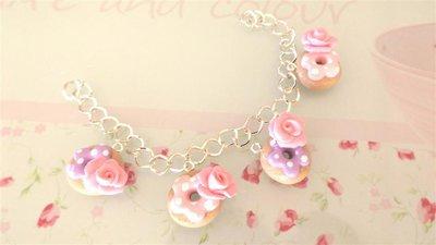 FIMO - BRACCIALETTO CON CIAMBELLE DONUTS rosa e lilla e ROSA a DECORO - elegantissimo - idea regalo