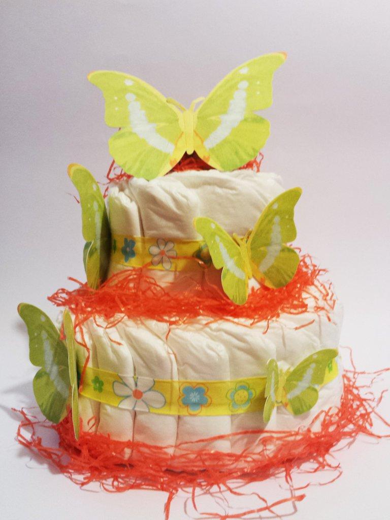 Torta Farfalle di pannolini- Idea regalo- nascita, compleanno, baby shower