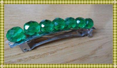 Ferma capelli a molla perle sfaccettate verdi luminose