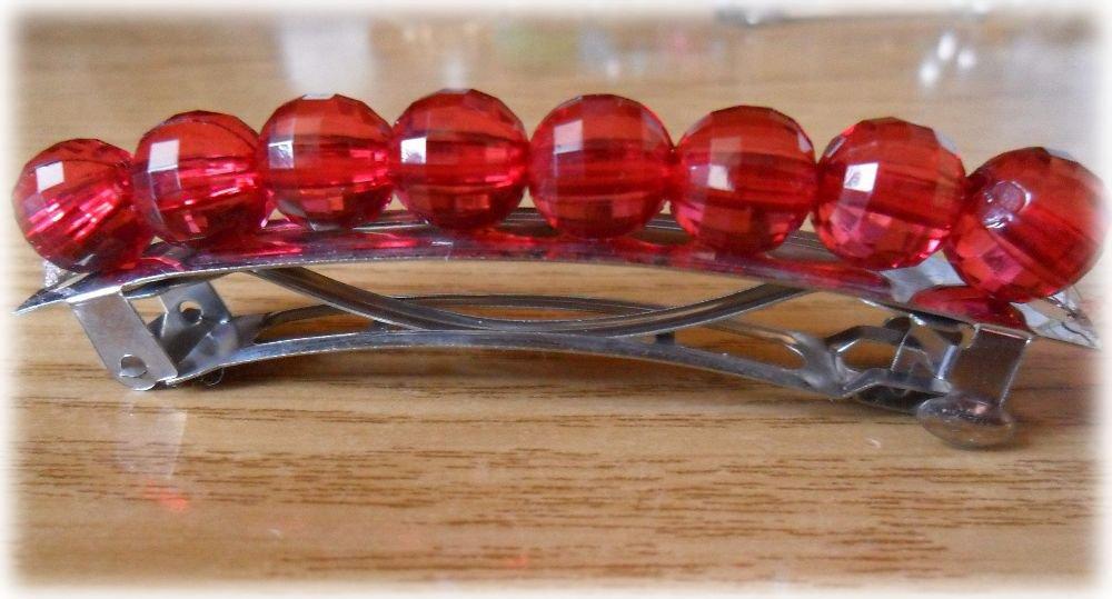 Ferma capelli a molla perle rosse trasparenti