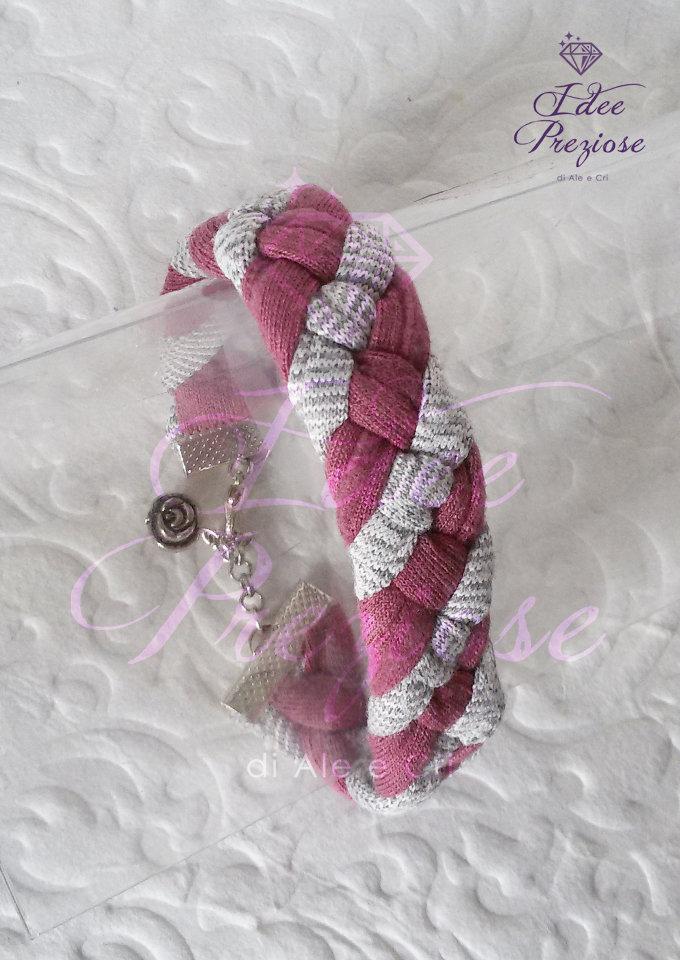 Braccialetto intrecciato con fettuccia rosa e grigio