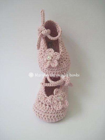 Scarpine neonata all'uncinetto in puro cotone color rosa antico - ballerine primavera