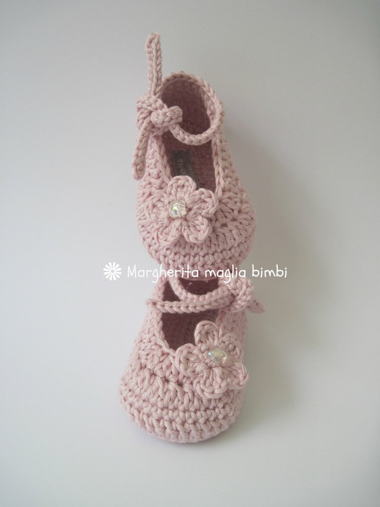 Scarpine Neonata Alluncinetto In Puro Cotone Color Rosa Antico B