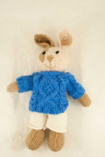 Poldo- Coniglio in lana realizzato a maglia