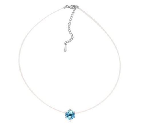 Collana con filo sottile in silicone trasparente e ciondolo cristallo azzurro acquamarina idea regalo per lei.