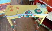 tavolo etagere decorato a mano