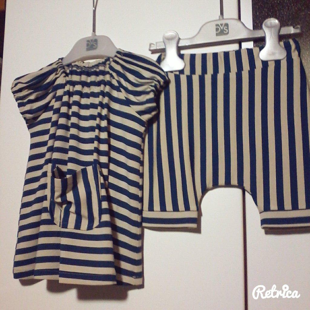 Completo bimba abito maglia + pantaloncini taglia 6-9 mesi