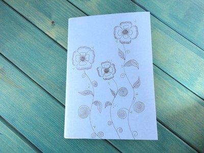 Quaderno A Quadretti Con Copertina Disegnata a Mano Fiori