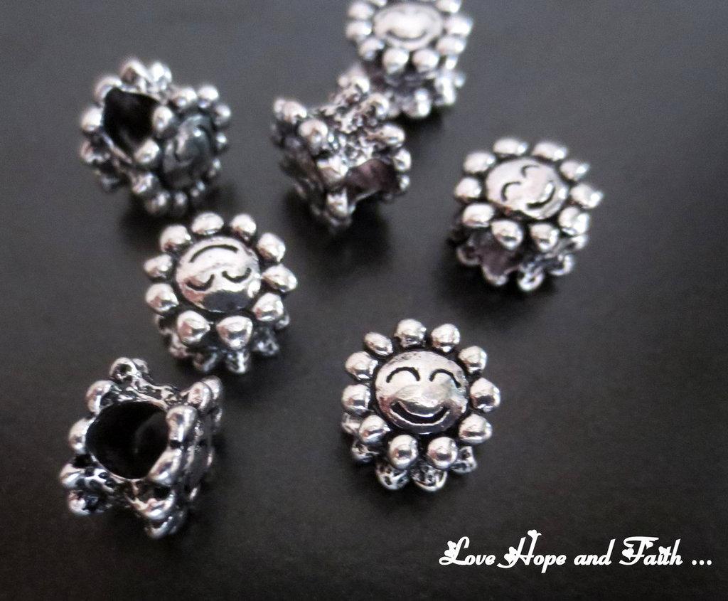 """Perla a foro largo color argento scuro """"Fiore allegro"""" (10x9mm) (cod. 13681)"""