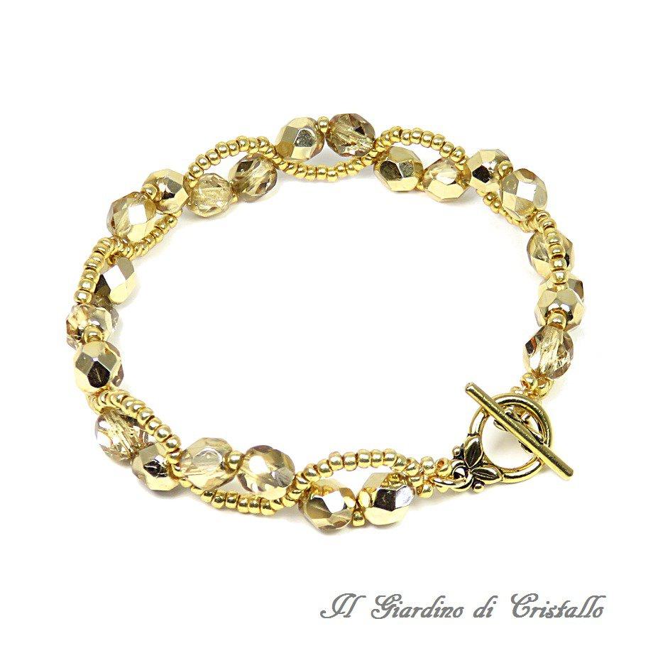 Bracciale con mezzi cristalli e perline color oro motivo effetto pizzo fatto a mano - Gelsomino