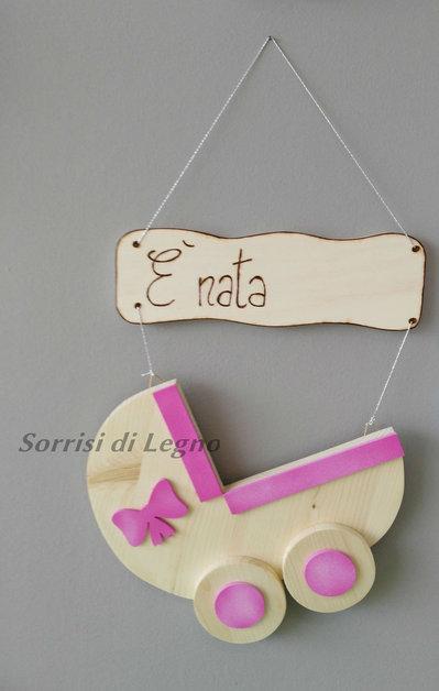 Culla fiocco nascita rosa bambini nascita di sorrisi for Siti di oggetti in regalo