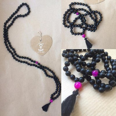 Collana Japamala in Onice nero opaco con pietra inserita a scelta