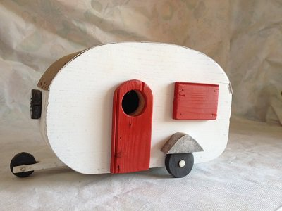 casetta per uccelli in legno - ROULOTTE -
