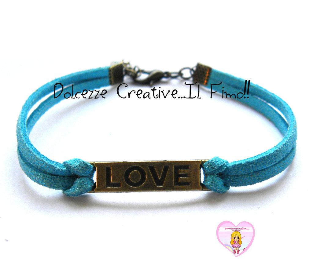Bracciale LOVE - color bronzo con alcantara azzurra, idea regalo unisex