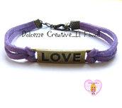 Bracciale LOVE - color bronzo con alcantara viola, idea regalo unisex
