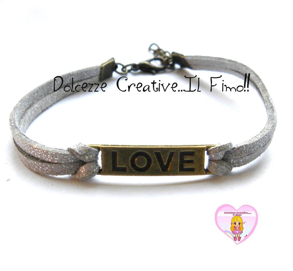 Bracciale LOVE - color bronzo con alcantara grigia , idea regalo unisex