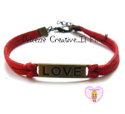 Bracciale LOVE - color bronzo con alcantara Rosso , idea regalo unisex