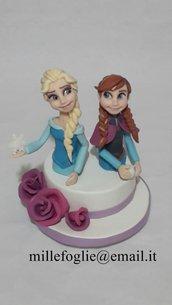 Cake Topper Frozen (Anna e Elsa) in Porcellana Fredda( Pasta di Zucchero su richiesta)