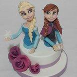 Cake Topper Frozen (Anna e Elsa) in Porcellana Fredda(anche Pasta di Zucchero su richiesta)