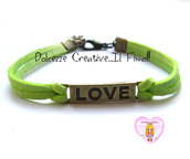 Bracciale LOVE - color bronzo con alcantara Verde , idea regalo unisex