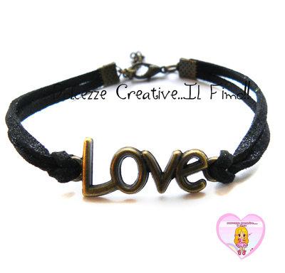 Bracciale LOVE - color bronzo con alcantara nera , idea regalo unisex
