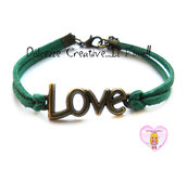 Bracciale LOVE - color bronzo con alcantara verde scuro , idea regalo unisex