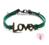 Bracciale LOVE - color bronzo con alcantara verde scuro , idea regalo unisex